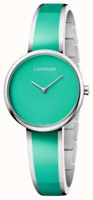 Calvin Klein |女性勾引|不锈钢绿色树脂手链| K4E2N11L