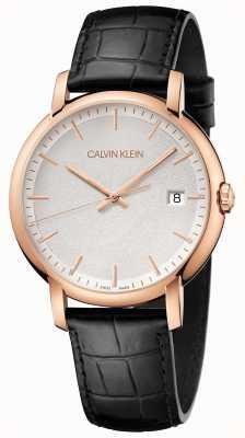 Calvin Klein |男士极少|黑色皮革表带|白色表盘| K9H216C6