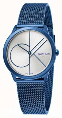 Calvin Klein 最小|蓝色网状手链|银色表盘| K3M52T56