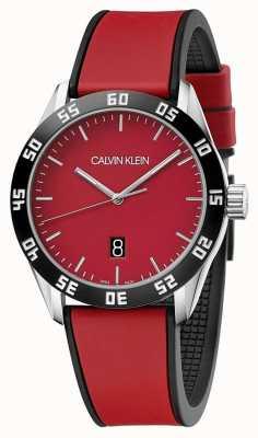 Calvin Klein |男装全红色橡胶表带|红色表盘| K9R31CUP