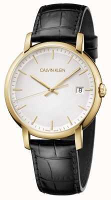 Calvin Klein |男士极少|黑色皮革表带|白色表盘| K9H215C6
