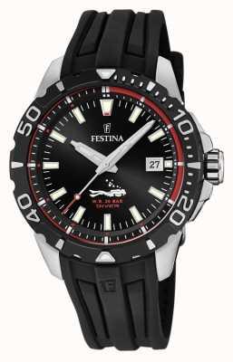 Festina |男子潜水员| 高分辨率照片| CLIPARTO黑色橡胶表带|黑色表盘| F20462/2