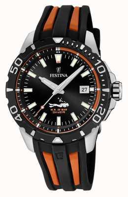 Festina |男士潜水员|黑色/橙色橡胶表带|黑色表盘| F20462/3