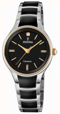 Festina |女士陶瓷|银/黑手链|黑色表盘| F20474/4