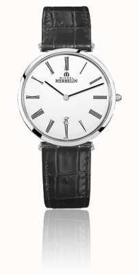 Michel Herbelin |男士| epsilon |黑色皮革表带|白色表盘| 19406/01N