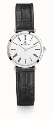 Michel Herbelin |女士| epsilon |黑色皮革表带|白色表盘| 17106/01N