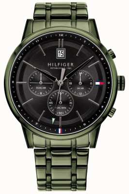 Tommy Hilfiger |男士绿色pvd镀金手链|黑色表盘| 1791634