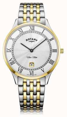 Rotary |男士超薄|双色不锈钢|白色表盘| GB08301/01