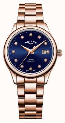 Rotary |女士牛津|玫瑰金pvd镀|蓝色阳光表盘| LB05096/05/D