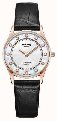 Rotary |女式超薄黑色皮革|珍珠贝母表盘 LS08304/41/D