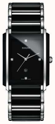 Rado 一体式钻石高科技陶瓷黑色方形表盘腕表 R20206712