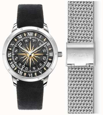 Thomas Sabo |女士太阳手表|黑色天鹅绒表带|黑色3D太阳拨盘 SET_WA0351-217-203-33