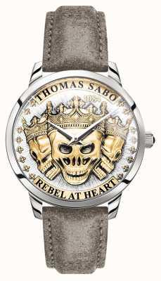 Thomas Sabo |男人的反叛精神3d头骨|金色表盘|皮表带| WA0356-273-207-42