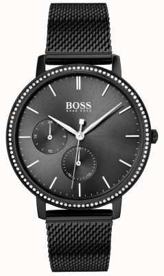Boss |女人的无限|黑色网状手链|黑色阳光表盘 1502521