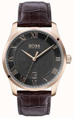 Boss  男士大师 棕色皮革表带 灰色表盘 1513740
