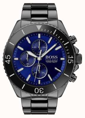 Boss |男士海洋版|黑色不锈钢|蓝色表盘| 1513743