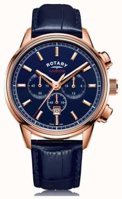 Rotary |男士剑桥计时码表|蓝色表盘|蓝色皮革| GS05399/05