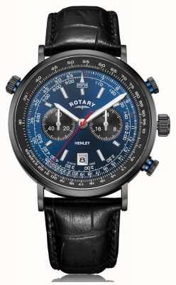 Rotary  男士亨利计时码表 蓝色表盘 黑色皮革表带 GS05238/05