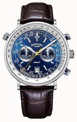 Rotary |男士亨利计时码表|蓝色表盘|棕色皮革表带 GS05235/05
