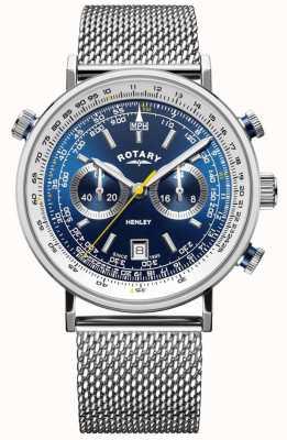 Rotary |男士亨利计时码表|钢网手链|蓝色表盘 GB05235/05