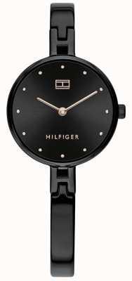 Tommy Hilfiger |女士套装|黑色不锈钢手链|黑色表盘 1782136