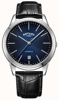 Rotary  男士剑桥 蓝色表盘 黑色皮革表带  GS05390/05