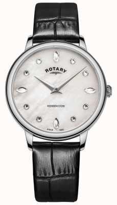 Rotary |女性的肯辛顿|施华洛世奇水晶表盘|黑色皮革 LS05170/41