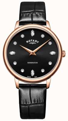 Rotary |女性的肯辛顿|施华洛世奇水晶黑色表盘| LS05174/04