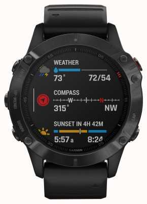 Garmin Fenix 6 pro大猩猩玻璃|多功能运动智能手表|黑色橡胶表带 010-02158-02