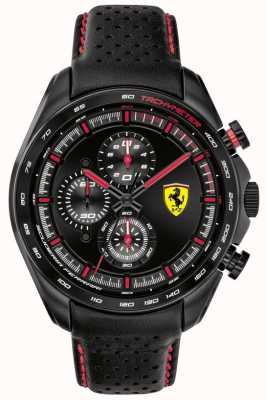 Scuderia Ferrari |男子速度赛车手黑色皮革表带|黑色表盘| 0830647