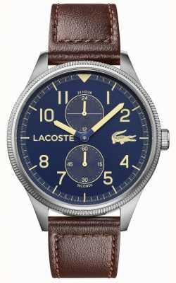 Lacoste |男士大陆|棕色皮革表带|蓝色表盘| 2011040