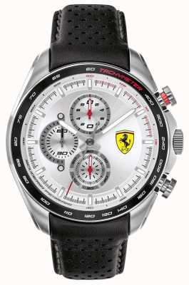Scuderia Ferrari |男子速度赛车手黑色皮革表带|银色表盘| 0830651