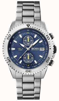 Boss   vela  计时码表 钢手链 蓝色表盘  1513775
