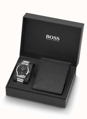 Boss |男士|手表和黑色皮革钱包套装| 1570093