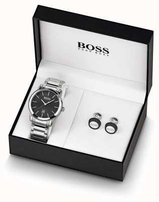 Boss |男士|黑色手表和袖扣套装| 1570091