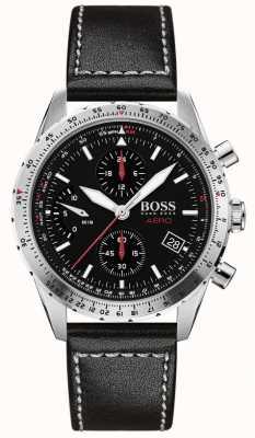Boss  航空 黑色计时码表 黑色皮革表带  1513770