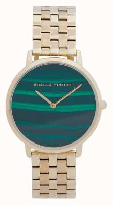Rebecca Minkoff 女子专业|镀金钢手链|孔雀石表盘 2200373