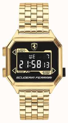 Scuderia Ferrari |男士digidrive |镀金手链|黑色表盘| 0830705