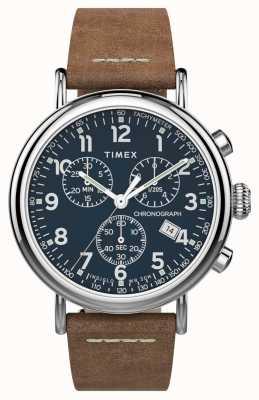 Timex |标准计时41mm |棕色皮革表带|蓝色表盘| TW2T68900