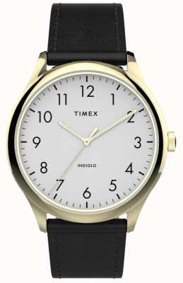Timex |简易阅读器40mm |黑色皮革表带|白色表盘| TW2T71700