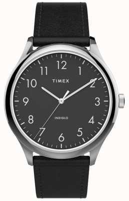 Timex |简易阅读器40mm |黑色皮革表带|黑色表盘| TW2T71900
