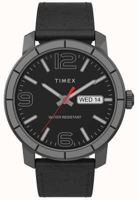 Timex |男士Mod 44毫米|黑色皮革表带|黑色表盘| TW2T72600