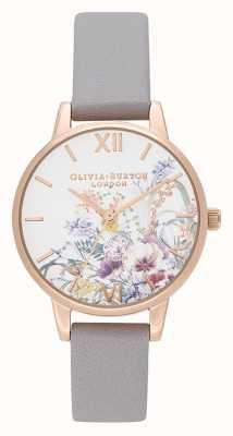 Olivia Burton |女装|魔法花园|灰色淡紫色皮革表带| OB16EG150