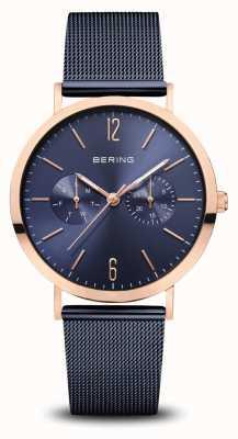 Bering |经典|抛光玫瑰金|蓝色网状手链| 14236-367