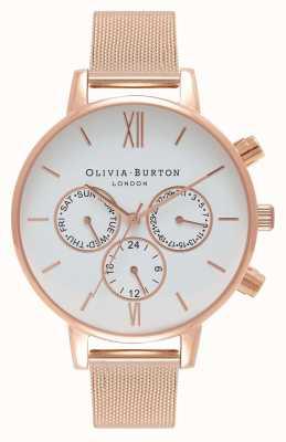 Olivia Burton 女装白色多表盘|玫瑰pvd网 OB16CG86