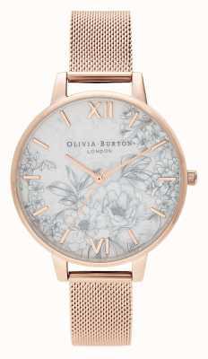 Olivia Burton |女士|水磨石花香|玫瑰金网手链| OB16TZ04