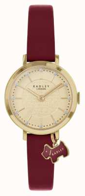 Radley 塞尔比街|酒红色皮革表带|金表盘| RY2862