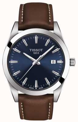 Tissot 绅士棕色皮革表带|蓝色表盘| T1274101604100