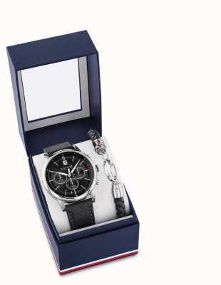 Tommy Hilfiger 男士黑色皮革手表和手链礼品套装 2770058