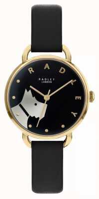 Radley 伍德街|黑色皮革表带|黑色表盘狗图案| RY2876